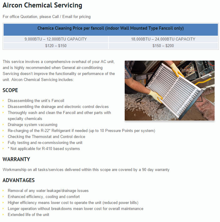 aircon chemical wash service price